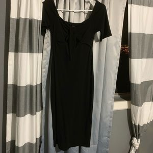 Long die front black dress